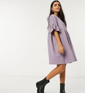 Fioletowa sukienka Asos z długim rękawem oversize
