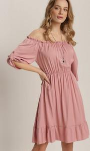 Różowa sukienka Renee z okrągłym dekoltem z długim rękawem mini