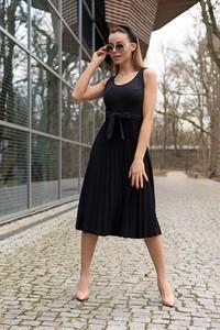 Czarna sukienka MERRIBEL z dekoltem w kształcie litery v midi