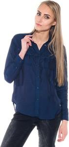 Granatowa koszula Pepe Jeans w stylu casual bez kołnierzyka z długim rękawem