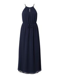 Granatowa sukienka Esprit z szyfonu bez rękawów maxi