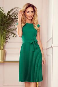 Zielona sukienka NUMOCO z okrągłym dekoltem midi bez rękawów