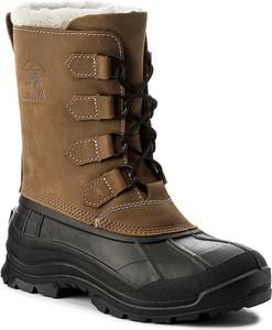 Brązowe buty zimowe kamik z nubuku