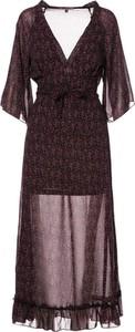 Sukienka Multu maxi z długim rękawem z dekoltem w kształcie litery v
