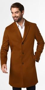 Brązowy płaszcz męski Hugo Boss z kaszmiru