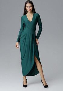 Sukienka Figl maxi asymetryczna z dekoltem w kształcie litery v