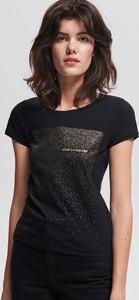 Czarny t-shirt Reserved w stylu casual