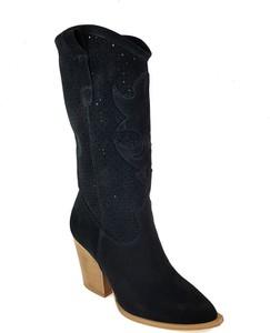 Botki Lewski shoes na zamek z weluru na obcasie