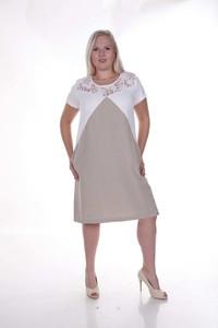 Sukienka Fokus midi z krótkim rękawem z lnu