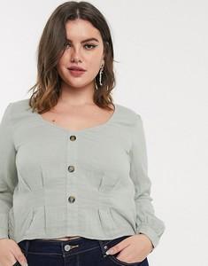 Zielona bluzka Vero Moda Curve z okrągłym dekoltem z długim rękawem