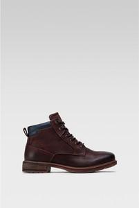 Brązowe buty zimowe Lasocki w stylu casual sznurowane