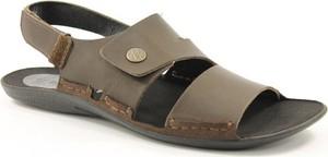 Brązowe buty letnie męskie NIK ze skóry