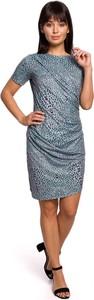Niebieska sukienka MOE mini w stylu casual dopasowana