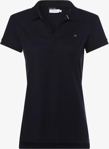 Granatowy t-shirt Calvin Klein z kołnierzykiem z krótkim rękawem