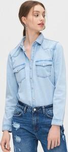 Niebieska koszula Cropp z długim rękawem w stylu casual z kołnierzykiem