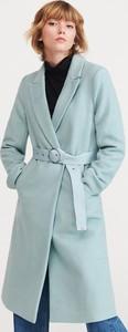 Turkusowy płaszcz Reserved z wełny