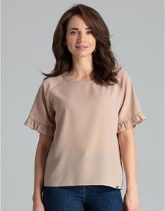 Bluzka LENITIF w stylu casual z okrągłym dekoltem z krótkim rękawem