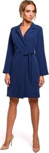 Niebieska sukienka Merg z dekoltem w kształcie litery v