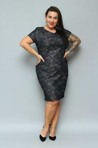 Czarna sukienka KARKO ołówkowa z krótkim rękawem