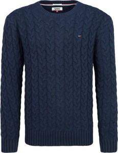 Granatowy sweter Tommy Hilfiger z wełny w stylu casual