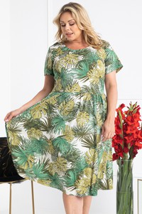 Zielona sukienka KARKO z krótkim rękawem hiszpanka