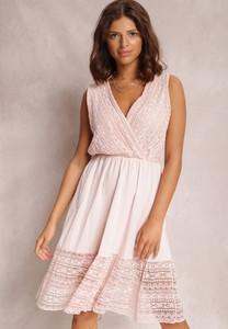 Różowa sukienka Renee bez rękawów trapezowa mini