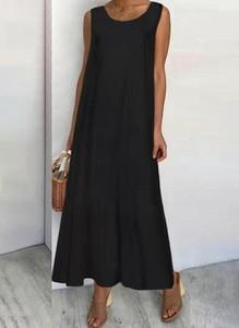 Czarna sukienka Cikelly maxi z okrągłym dekoltem