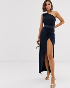 Granatowa sukienka Club L London maxi