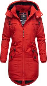 Czerwona kurtka Marikoo w stylu casual długa