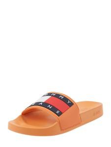 Pomarańczowe klapki Tommy Jeans z płaską podeszwą w stylu casual