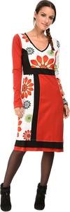 Czerwona sukienka Namaste w stylu casual z bawełny z długim rękawem