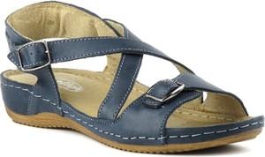 Niebieskie sandały Helios na koturnie w stylu casual z klamrami