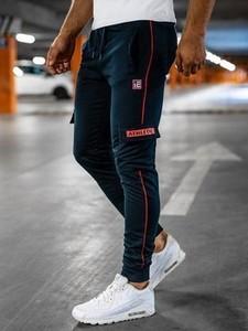 Granatowe spodnie sportowe Denley z dresówki w sportowym stylu