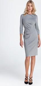 Sukienka Colett prosta midi z długim rękawem