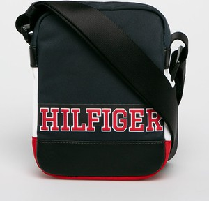Granatowa torba Tommy Hilfiger ze skóry ekologicznej