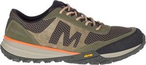 Zielone buty sportowe Merrell z zamszu sznurowane