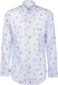 Niebieska koszula Etro z długim rękawem z kołnierzykiem button down w młodzieżowym stylu