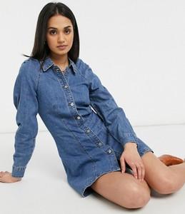 Niebieska sukienka Lost Ink z kołnierzykiem z długim rękawem z jeansu