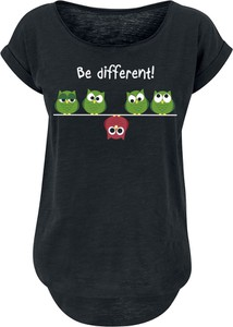 Czarny t-shirt Be Different! z okrągłym dekoltem z krótkim rękawem
