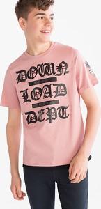 Różowa koszulka dziecięca Here And There z bawełny z krótkim rękawem