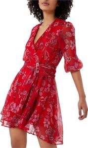 Czerwona sukienka Liu-Jo z długim rękawem z dekoltem w kształcie litery v