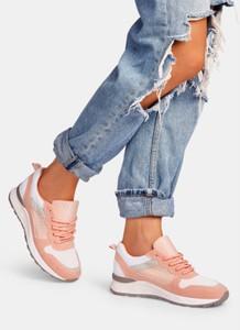 Różowe buty sportowe DeeZee w sportowym stylu z płaską podeszwą