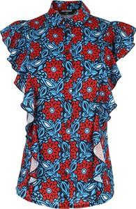 Niebieska bluzka Nife z okrągłym dekoltem