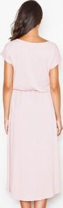 Różowa sukienka Figl z krótkim rękawem z tkaniny z okrągłym dekoltem