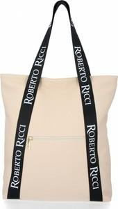 Torebka Roberto Ricci na ramię z kolorowym paskiem w wakacyjnym stylu
