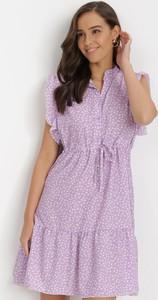 Fioletowa sukienka born2be bez rękawów z dekoltem w kształcie litery v