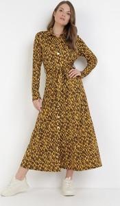 Żółta sukienka born2be maxi z długim rękawem