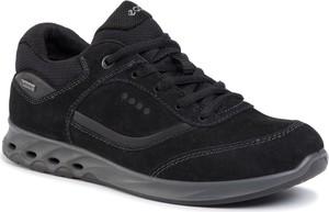 Czarne buty sportowe Ecco z goretexu sznurowane z płaską podeszwą