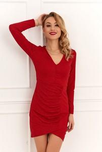 Sukienka Fasardi dopasowana z długim rękawem mini