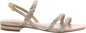 Złote sandały Bibi Lou ze skóry w stylu casual z płaską podeszwą